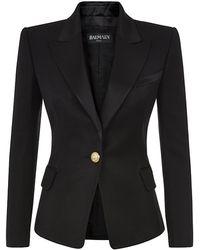 Balmain Satin Lapel Pique Jacket - Lyst