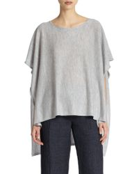 Eileen Fisher Cashmere Poncho Top gray - Lyst