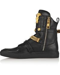 Versace Embellished Leather Hightop Sneakers - Lyst