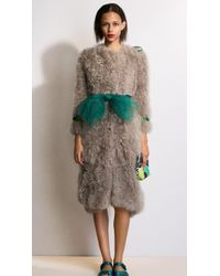 Burberry Curly Goat Hair Caban With Patent Trim - Lyst