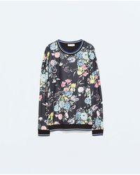 Zara Flowers Tshirt - Lyst