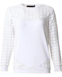 Marna Ro Long Sleeve Lace Trish Sweatshirt - Lyst