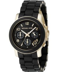 Michael Kors Women'S Chronograph Runway Gold-Tone Stainless Steel And Black Polyurethane Bracelet Watch 38Mm Mk5191 - Lyst