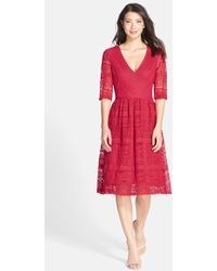 Kut From The Kloth Lace V-Neck Fit & Flare Dress - Lyst
