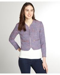 French Connection Rainbow Boucle Zip Front Jacket - Lyst