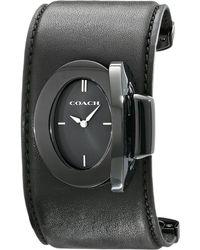 Coach Turnlock Leather Cuff Watch - Lyst