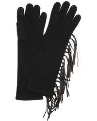 Portolano | Black Rib Knit Cashmere Leather Fringe Itouch Gloves | Lyst