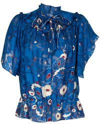 Anna Sui Daisy Silhouette Print Short Sleeve Blouse blue - Lyst