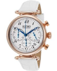 Ritmo Mundo - Women's Corinthian Chronograph White Leather Rose-tone Case 40 Mm - Lyst