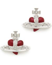 Vivienne Westwood - Diamante Heart Earrings - Silver - Lyst