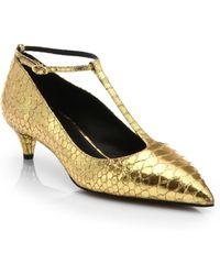 Giuseppe Zanotti Snake-Embossed Metallic Leather T-Strap Pumps gold - Lyst
