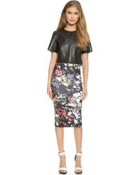 McQ by Alexander McQueen Cropped Leather Zip Top - Black/ White Foil - Lyst