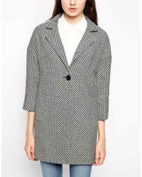 Helene Berman Tweed One Button Swing Coat - Lyst