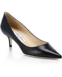 Jimmy Choo Low-Heeled Leather Point-Toe Pumps - Lyst