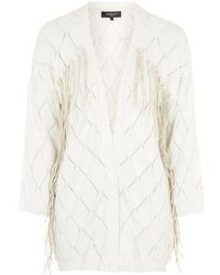 Topshop Knitted Fringe Cardigan By Selected Femme beige - Lyst