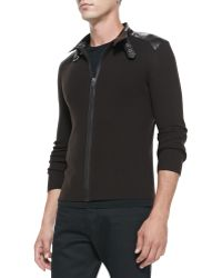Ralph Lauren Black Label - Modena Ribbed Zipfront Sweater - Lyst