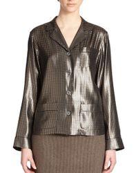 Marc Jacobs Silk Houndstooth Lamã© Pajama Shirt - Lyst