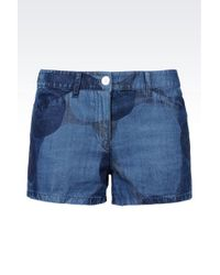 Armani Jeans Shorts In Printed Denim - Lyst