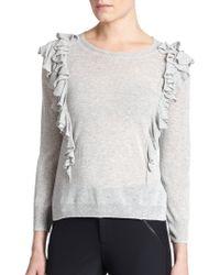 Rebecca Taylor Double Ruffle Sweater - Lyst