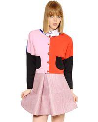 Vivetta Color Block Wool Merino Cardigan - Lyst
