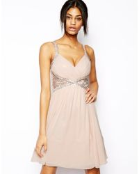 Little Mistress Embellished Plunge Neck Prom Dress with Lace Insert - Lyst
