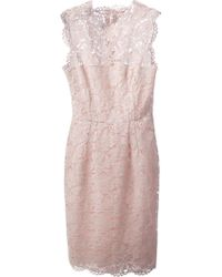 Valentino Lace Fitted Dress - Lyst