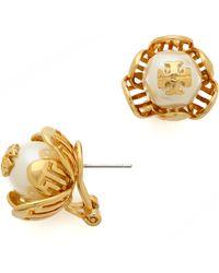 Tory Burch Caras Flower Stud Earrings Ivoryshiny Brass - Lyst