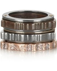 Bottega Veneta Set Of Three Oxidized and Rose Goldtone Sterling Silver Rings - Lyst