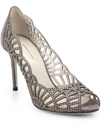 Giorgio Armani Scalloped Suede & Crystal Peep-Toe Pumps - Lyst