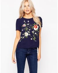 Oasis | Floral Embellished Tee | Lyst