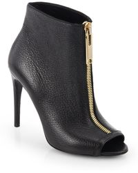 Burberry Brooksmead Leather Peep-Toe Booties - Lyst