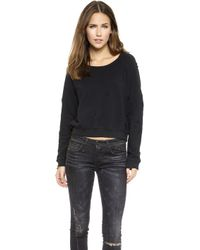 Textile Elizabeth And James Distressed Perfect Sweatshirt  Black - Lyst