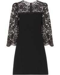 Dolce & Gabbana Lace-Trimmed Crepe Dress - Lyst