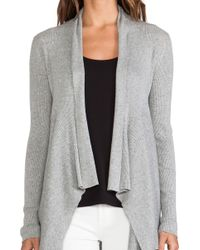 Autumn Cashmere Ribbed Drape Cardigan - Lyst