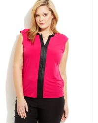 Calvin Klein Plus Size Sleeveless Faux-Leather-Trim Top - Lyst