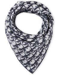 Dior Silk Logo Scarf blue - Lyst