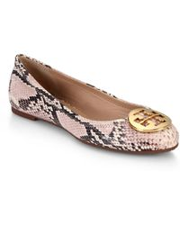 Tory Burch Reva Python-Embossed Leather Ballet Flats - Lyst