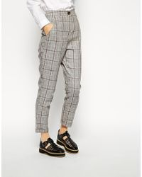 Asos 5 Pocket Peg Trousers in Check - Lyst