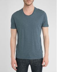 American Vintage Blue U-Neck Cotton-Jersey T-Shirt - Lyst
