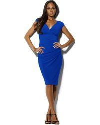 Lauren by Ralph Lauren Cap-Sleeve Jersey Dress - Lyst