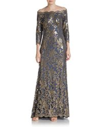 Tadashi Shoji Sequined Lace Off-shoulder Gown - Lyst