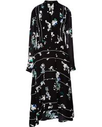 Proenza Schouler Printed Georgette A-line Pleated Dress - Lyst