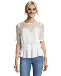 Karen Millen | Ivory Pintucked Chiffon And Lace Ruffle Blouse | Lyst