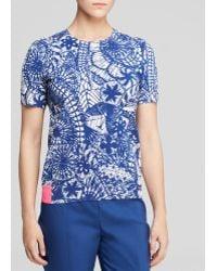 Tory Burch Printed Short Sleeve Sweater - Lyst
