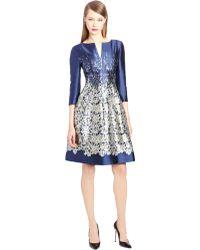 Oscar de la Renta Guipure Lace Print Mikado Dress - Lyst