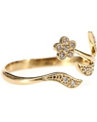Stone - 18kt Yellow Gold Petite Fleur Des Mains Ring with White Diamonds - Lyst