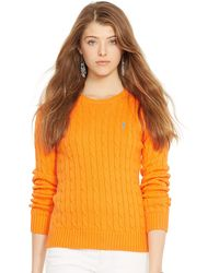 Polo Ralph Lauren Classic Cabled Cotton Sweater - Lyst