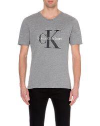 Calvin Klein Logo-Print Cotton T-Shirt - For Men gray - Lyst