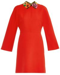 Valentino Crepe Couture Leather-Collar Dress - Lyst