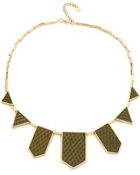 House Of Harlow Five Station Necklace Olive - Lyst